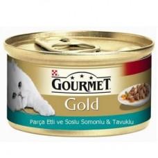 GOURMET GOLD PARÇA ETLİ SOSLU SOMON VE TAVUK KEDİ KONSERVESİ 85 GR